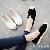 老北京布鞋女2019新款懶人鞋春季小白鞋休閒平底一腳蹬單鞋子帆布鞋CM2349【甜心小妮】