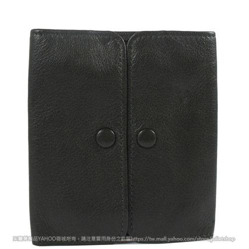 茱麗葉精品 二手名牌【9.9成新】Louis Vuitton LV 質感小牛皮壓紋雙扣零錢夾.深綠