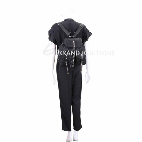 PRADA 黑色皮革鉚釘尼龍後背包 1830040-C6