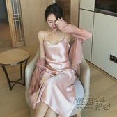 性感睡衣女夏吊帶睡裙單件冰絲可外穿長款洋裝夏天家居服長裙 衣櫥秘密