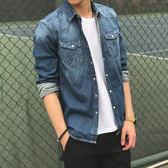 夏季青少年男士牛仔襯衫男潮流 長袖襯衣薄款