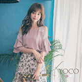 東京著衣【YOCO】輕甜優雅露肩綴蕾絲花朵雙層波浪袖上衣-S.M.L(180602)