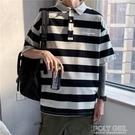 夏季男士條紋POLO衫原宿潮流短袖t恤港風ins寬鬆翻領半袖衣服 夏季新品