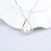 純銀天然珍珠項鏈 時尚近圓強光項鏈 鎖骨鏈【五巷六號】s286
