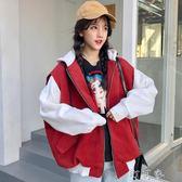 連帽衛衣女裝韓版寬鬆原宿BF風學生開衫帶帽加絨加厚外套 町目家
