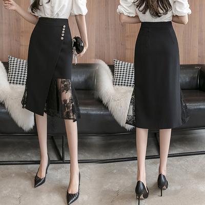 彈力半裙蕾絲拼接荷葉邊不規則魚尾裙半身裙通勤工作裙1092D734紅粉佳人