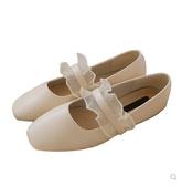瑪麗珍鞋 秋蕾絲甜美溫柔方頭平底百褶壹字帶瑪麗珍單鞋春季女鞋 瑪麗蘇