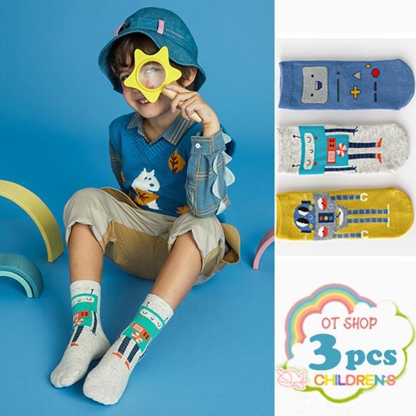 OT SHOP[現貨]三入組 兒童襪 男童 襪子 中筒襪 運動襪 精梳棉 卡通 童趣 機器人 復古文青色系 M6027