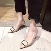春新款性感法式少女尖頭方扣高跟鞋女士百搭細跟工作鞋女單鞋 【618特惠】