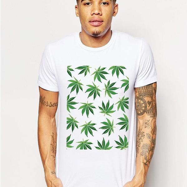 Cannabis-Leaf短袖T恤-2色 大麻huf obey dope supreme風滑板潮t