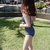 【雙12】全館大促韓溫泉泳衣牛仔色性感吊帶連體泳衣女