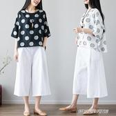 棉麻上衣女夏季新款女裝短袖T恤大碼胖mm寬鬆波點小清新上衣(免運快出)