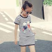 女童夏季新款中大童純棉中長短袖條紋裙子