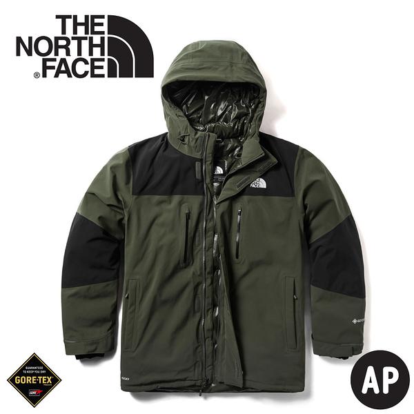 【The North Face 美國 男 GORE-TEX羽絨外套《褐綠》】46GH/防水外套/羽絨衣