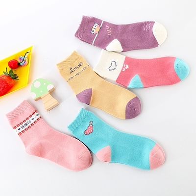 5雙裝秋冬兒童襪子純棉春秋款男童女童寶寶小孩中大童棉襪[樂淘淘】