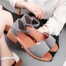 新品百搭夏天粗跟涼鞋女中跟學生正韓女鞋