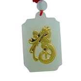 金鑲玉項鍊 和闐玉吊墜-福字祥龍生日情人節禮物男女飾品73gf11【時尚巴黎】