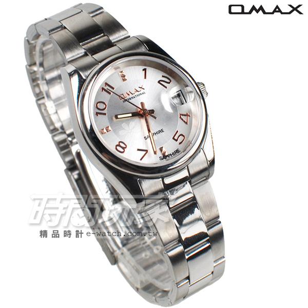 OMAX 時尚城市圓錶 玫瑰金色 不銹鋼帶 藍寶石水晶 女錶 日期視窗 OM4101白玫中