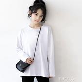 新款長袖白色T恤女秋冬韓版寬鬆簡約學生百搭純白打底衫 交換禮物