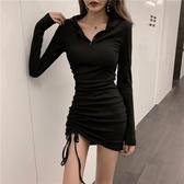 洋裝  初秋性感抽繩褶皺打底短裙休閒連帽長袖修身包臀連衣裙子