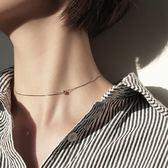 項鍊S925純銀項鍊女鎖骨鍊短款chic頸鍊鎖骨個性簡約小銀豆choker頸帶 喵小姐