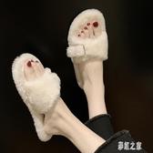 毛毛拖鞋 女2019潮鞋新款秋季外穿冬天鞋子冬搭扣棉拖 BT16909【彩虹之家】