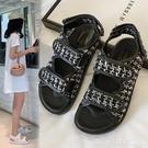 涼鞋 小香風涼鞋女2020夏季新款編織粗花呢厚底魔術貼平底羅馬鞋仙女風 618購物節