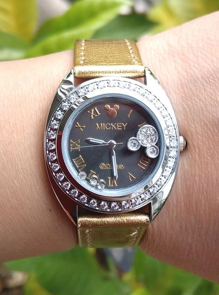 【卡漫城】 六折出清 米奇 手錶 金色 水鑽 ㊣版 皮革錶 迪士尼 Mickey 米老鼠 女錶 卡通錶 造型時尚