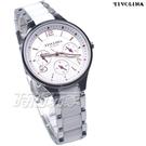TIVOLINA 精彩人生 三眼多功能錶 陶瓷錶 防水錶 藍寶石水晶鏡面 女錶 白色 MAW3757-W