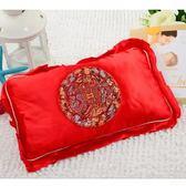 嬰兒蠶砂定型枕頭新生兒蠶沙紅色綢緞0-1歲寶寶蕎麥枕