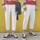 西裝褲男白色寬鬆直筒西裝褲男垂感百搭小西褲韓版休閒九分褲潮流褲子