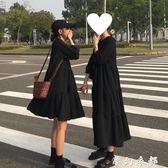 冷淡風洋裝 春季韓版新款寬鬆冷淡風黑色顯瘦中長款打底洋裝女學生長裙 夢幻衣都