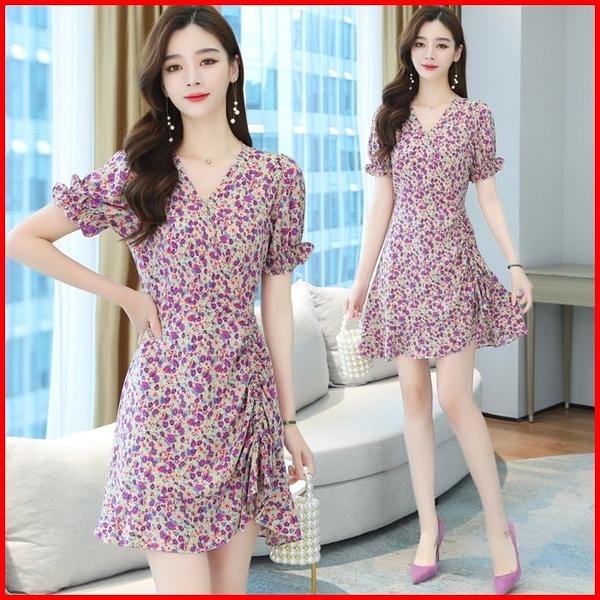 韓國風短袖洋裝 紫色連衣裙 雪紡夏天小個子赫本風碎花連身裙 依多多