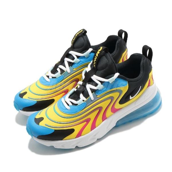 【四折特賣】Nike 休閒鞋 Air Max 270 React ENG GS 藍 黃 白 女鞋 大童鞋 氣墊 運動鞋 【ACS】 CD6870-700