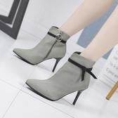 秋冬季高跟針織短靴女時尚尖頭馬丁靴尖頭細跟單靴貓跟彈力靴子性感潮 KV5299