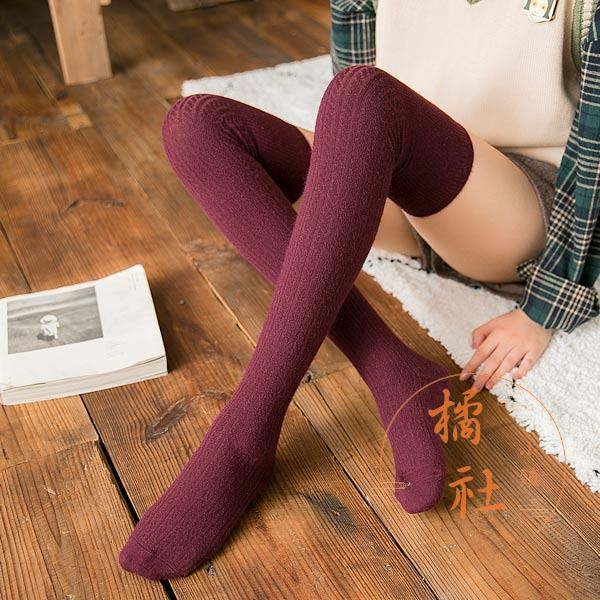過膝襪子女秋冬加長加絨防滑護膝長筒襪顯瘦高筒襪【橘社小鎮】