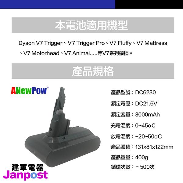Anewpow 新銳動能 Dyson V7 SV11 trigger fluffy mattress Car 適用 電池 大容量 3000mah 保固一年