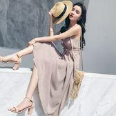 VK精品服飾 韓國風時尚新款條紋V領氣質長裙吊帶無袖洋裝