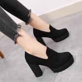 38/黑色 英倫風女鞋秋季新款韓版高跟鞋復古鞋子女秋百搭粗跟厚底單鞋B0013 B0045