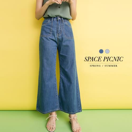 寬褲 Space Picnic 現貨.雙口袋高腰銀釦單寧寬褲【C17081061】
