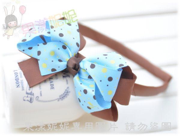 果漾妮妮 韓單點點雙層蝴蝶結造型髮圈/髮箍/兒童髮飾/表演/寫真【C8399】