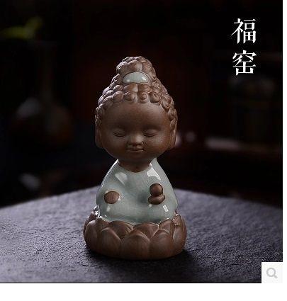 哥窯開片陶瓷茶寵小佛