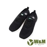 W&M(男)綠標logo 飛線編織休閒鞋 男鞋-黑(另有深藍)