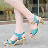女涼鞋韓版夏季新款高跟粗跟女式甜美時尚魚嘴韓國OL夏天女鞋 父親節好康下殺