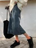 韓版一步開叉牛仔裙女高腰中長款a字半身裙復古裙子2019秋冬新款