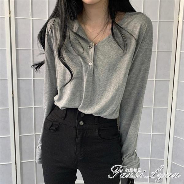 百搭薄款長袖空調衣打底T恤女韓版秋季寬鬆純色休閒空調衫上衣潮 范思蓮恩