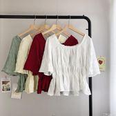 2019夏季新款韓版chic短款襯衫上衣女修身五分袖方領收腰襯衣『韓女王』