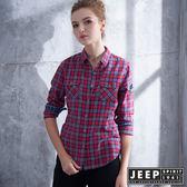 【JEEP】女裝 知性優雅格紋長袖襯衫 (紅色)