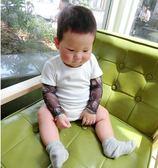 新生兒哈衣爬服男女寶寶花臂紋身假兩件爬服嬰兒哈衣潮短袖T恤   LannaS