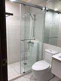 【麗室衛浴】B-046-2 無框一字二門橫推式淋浴拉門 (亮鉻色) 150*197cm